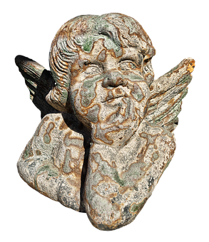Figure, Angel, Cherub, Stone Figure, Weathered, Old