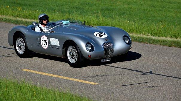 Racing Car, Hillclimb, Jaguar C-type Proteus, Oldtimer