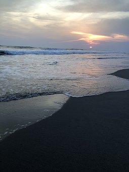 Water, Sunset, Sea, Dusk, Beach, Seashore, Outdoors