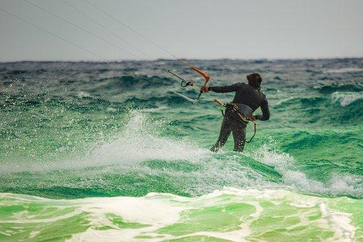 Kiteboarding, Surf, Surfer, Spray, Wave, Water, Wind