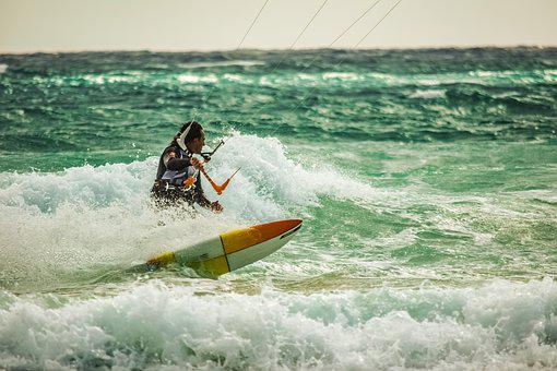 Kiteboarding, Surf, Surfer, Spray, Wave, Water, Wind