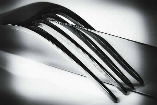 Knife, Fork, Mirroring, Black, White, Art