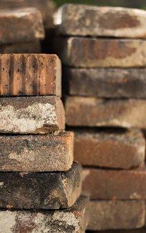 Bricks, Construction Site, Pile, Atmosphere