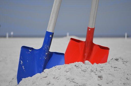 Blade, Spade, Dig, Sand, Blue, Red, Excavate, Bury