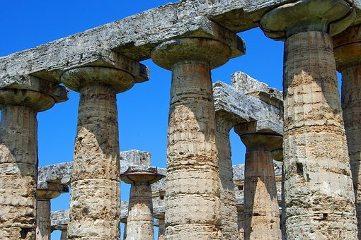 Paestum, Salerno, Italy, Greek Temple, Columns