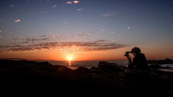 Dawn, Beach, Clouds, Sky, Sun, Rock, Photographer, Blue