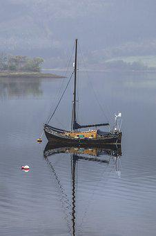 Boat, Ship, Sea, Lake, Loch, Small, Fog, Nautical
