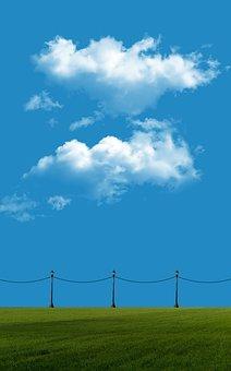 Download, Wallpaper, Sky, Blue, Grass, Lamp, Field