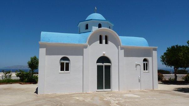 Church, Greece, Kos, Island, Blue Roof, Cross
