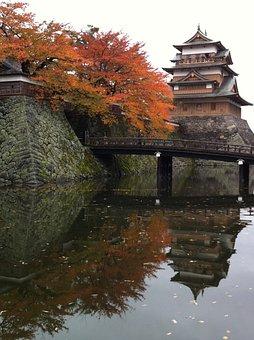 Takashima, Castle, Lake Suwa, Autumnal Leaves