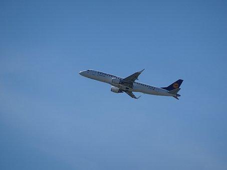 Aircraft, Lufthansa, Sky, Blue, Start, Departure, Wing