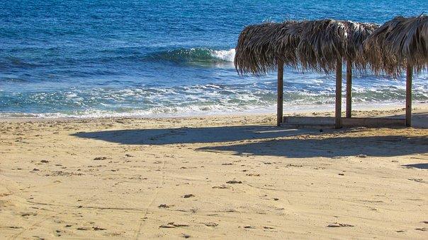 Beach, Empty, Autumn, End Of Season, Makronissos Beach