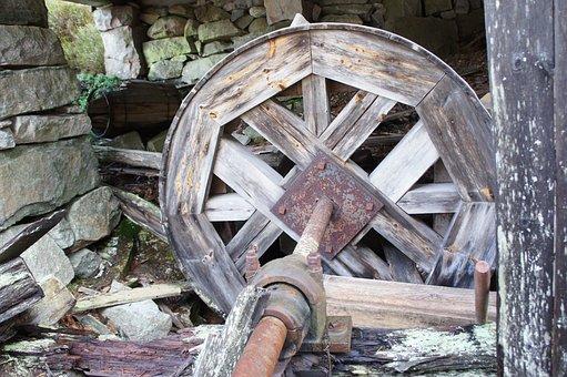 Waterwheel, Old, Historic, Wooden, Mechanism