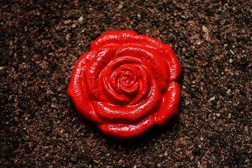 Rose, Gypsum, Painted, Craft, Decorative, Decoration