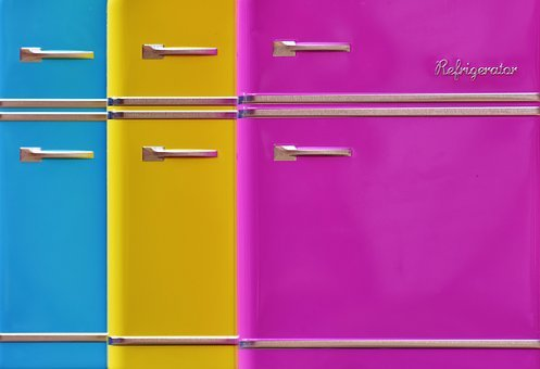 Refrigerators, Background Image, Cans, Candy Jars, Blue