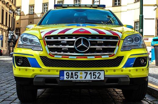 Auto, Ambulance, Doctor, Yellow, Rescuer