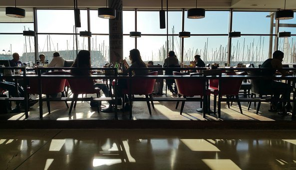 Restaurant, Eating, Interior, People, Silhouette