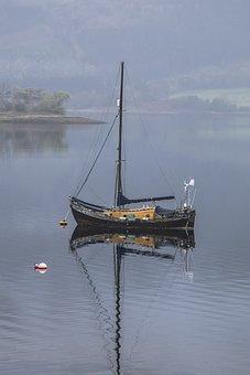 Boat, Ship, Sea, Lake, Loch, Small, Fog, Nautical