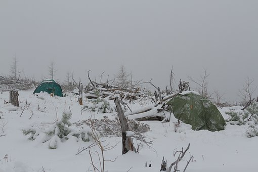 Tents, Mountains, Winter, Far East, Snow, Trees