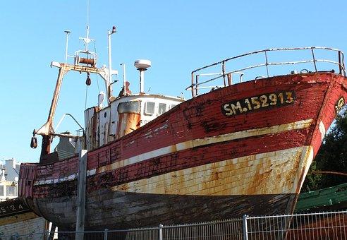 Boats, Old Ships, Wrecks, Brittany, Sea, Vacations