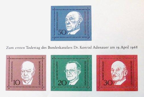 Adenauer, Stamp, Date Of Death, 1968, Block