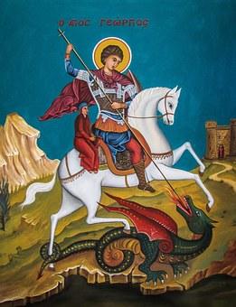 Ayios Georgios, Saint, Dragon, Iconography, Fresco