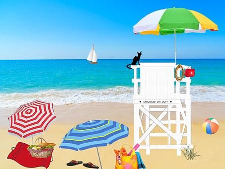 Beach, Ocean, Sea, Lifeguard, Guardian, Parasols