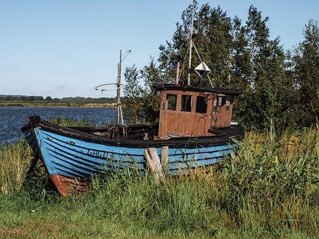 Bay, Sea, Boat, Cutter, Reed, Fishing, Wreck, Ship