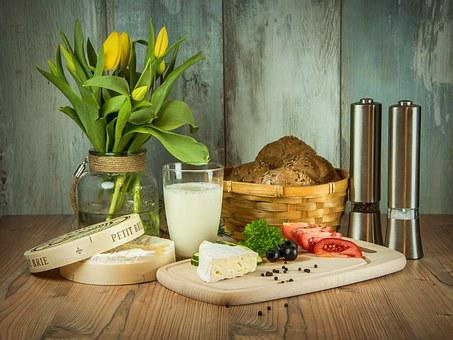 Breakfast, Flowers, Tulips, Flower, Cheese, Tomatoes