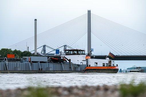 Bridge, Ship, River, Highway Bridge, River Navigation