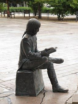 Statue, Reading, Man, Sitting, Bonaparte, Bronze, J - P