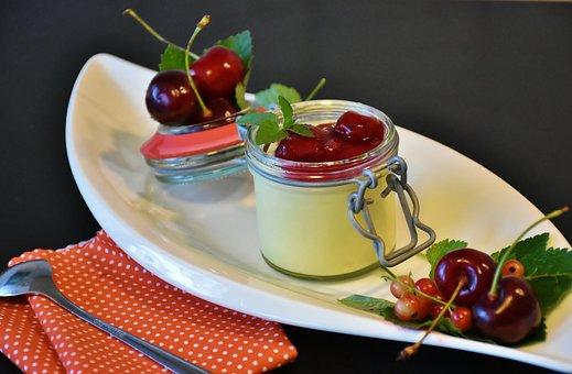 Pudding, Vanilla Pudding, Cherries, Groats