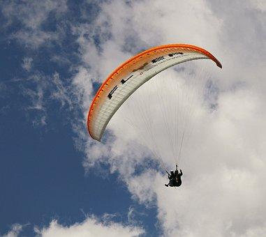 Paraglider, Tandem Flight, Paragliding, Clouds