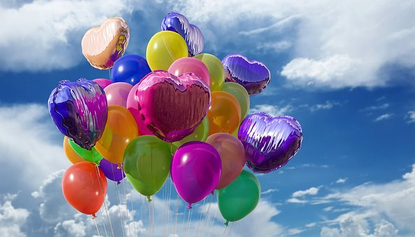 Balloons, Party, Colors, Rubber, Fly, Helium, Air