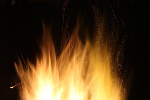Night, Yellow, Fire, Flame, Heat, Closeup, Fire Pit