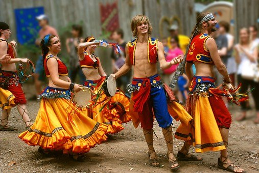 Dancers, Gypsy, Active, Young, Costume, Group, Man