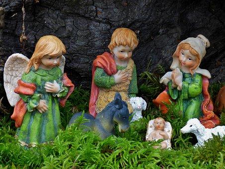 Nativity Scene, Christmas, Manger, Joseph, Maria, Jesus