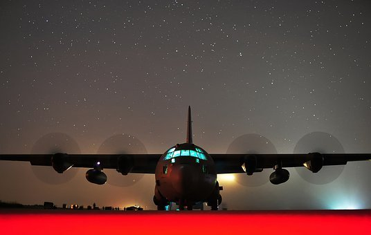 C-130j Hercules, Night, Evening, Stars, Sky, Lights