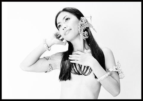 Woman, Thai, Lady, Nude, Black And White, Jewelry, Napa