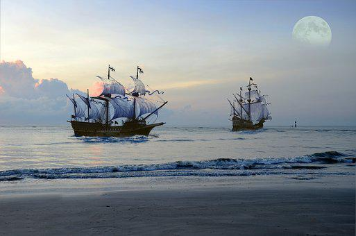 Pirate Ship, Sea, Moon, Fantasy, Ocean, Sail, Boat