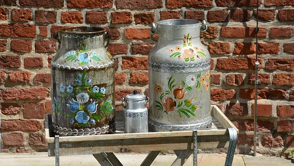 Milk Can, Peasant Art, Painting, Decoration, Deco