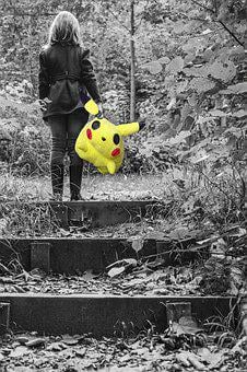 Little Girl, Pokemon, Pikachu, Lonely, Yellow