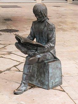 Statue, Reading, Man, Sitting, Bonaparte, Bronze, J - P