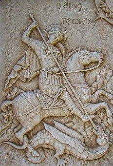 Engraving, Ayios Georgios, Wall, Church, Stone