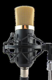 Mic, Transparent, Microphone, Golden, No Background