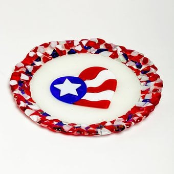 Patriotic, Usa, Plate, Homedecor, America, 4th, Holiday