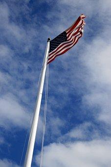 Usa, Flag, Blue, Sky, National, Waving, Independence