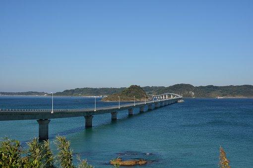 Japan, Yamaguchi, Tsunoshima Island, Sea, Bridge, Sky