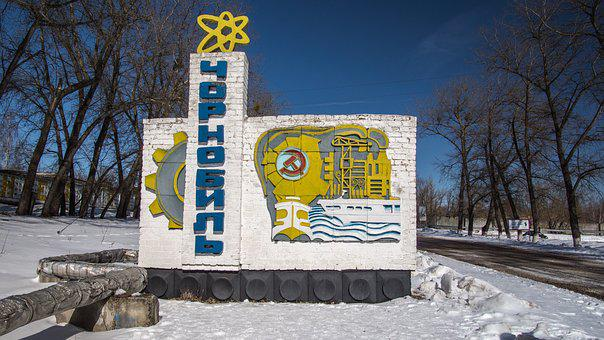 Chernobyl, Town Sign, City Sign, Snow, Exclusion Zone