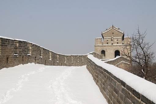 Building, Winter, Old, China, The Great Wall Of China
